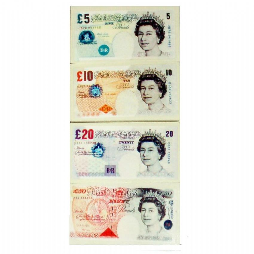 12 x UK POUND Note Money Novelty Erasers Realistic 5 10 20 50 Notes Sets 4 48 Wholesale Bulk Buy